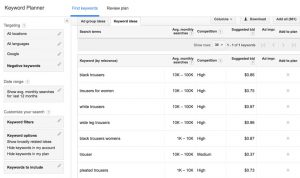 Keyword planner results searching for long tail keywords ideas for content hacking.