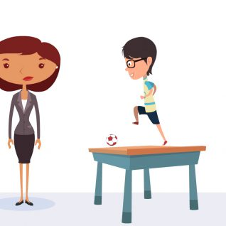 A guy playing football on a desk with a woman explaining marketing hacks for startups.