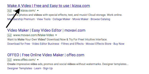 Call To Action example on Google AdWords