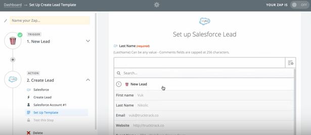 Zapier set up Saledforce lead