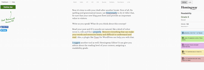 Hemingway Editor App to check your blog post