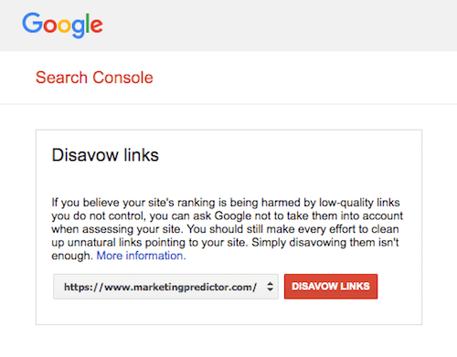 submit disavow file google search console